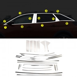 Stainless Steel Full Window Sill With Center Pillar Trims 22pcs For Peugeot 3008 2016-2019