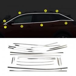 Stainless Steel Full Window Sill Trims 16pcs For Peugeot 3008 2016-2019