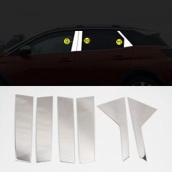 Stainless Steel Window Center Pillar Trims 6pcs For Peugeot 3008 2016-2019