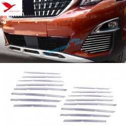 Free Shipping Steel Front Mesh Grille Molding Cover Trim 16pcs For Peugeot 3008 Access / Active / Allure / GT 2016-2019