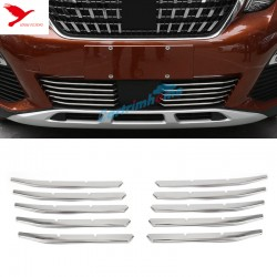 Free Shipping Stainless Front Bottom Grill Gird Cover Trim 10pcs For Peugeot 3008 Access / Active / Allure / GT 2016-2019