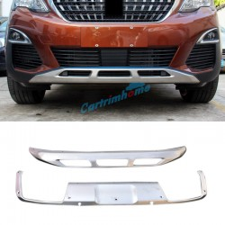 Front + Rear Bumper Protector Skid Plate 2pcs For Peugeot 3008 Access / Active / Allure / GT 2016 2017 2018