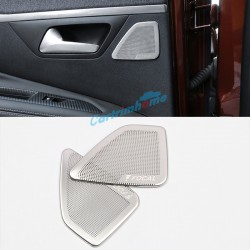 Free Shipping Steel Focal Logo Interior Rear Door Stereo Speaker Cover Trim 2pcs For Peugeot 3008 SUV Access / Active / Allure / GT 2016 2017 2018