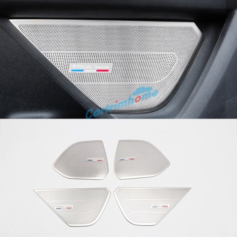 Free Shipping Steel Focal Logo Auto Door Speaker Audio Ring Cover Trim 4pcs For Peugeot 3008 SUV Access / Active / Allure / GT 2016 2017 2018