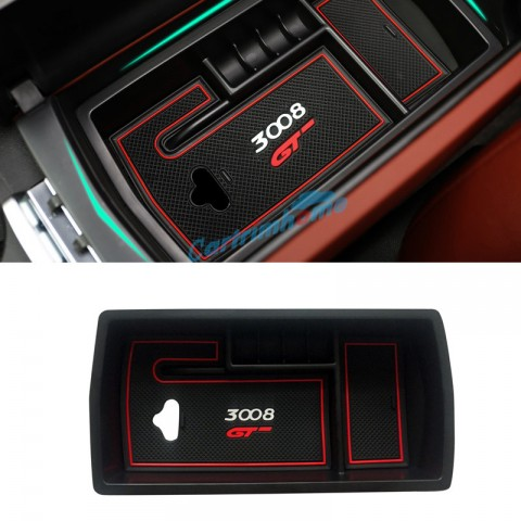 Free Shipping Black Interior Armrest Storage Box Holder For Peugeot 3008 Access / Active / Allure / GT 2016-2019