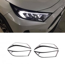 Free Shipping ABS Front Head Light Lamp Cover Trim For Toyota RAV4 2019 2020 2021