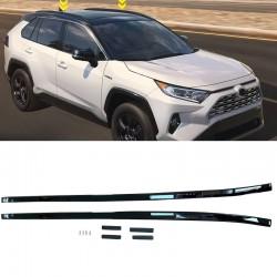 Black Aluminum Side Bars Rails Roof Rack Luggage Carrier For Toyota RAV4 2019 2020 2021