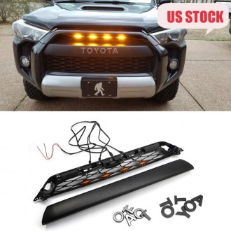 Only ship to U.S.!!!Not suitable for 2020!!!Free shipping With LED Light For 2014-2019 Toyota 4Runner Front Bumper Grille Replacement PZ327-35053 & PZ323-35056