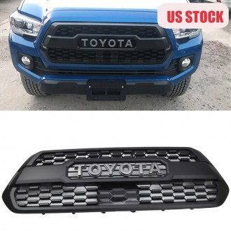 Only ship to U.S.!!!Matte Black Front Bumper Hood Grille Grill For 2016-2021 Toyota Tacoma TRD PRO Replacement & TSS-garnish Cover
